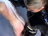 Mistress Abuses Restrained Mans Ass