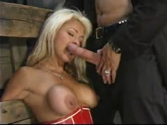Stacey loves the pain of bondage while Big Daddy Brady fucks her.