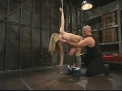 Harmony deals with the pain of bondage while having anal.