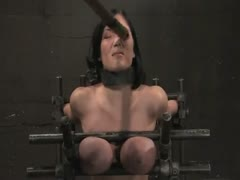 Claire Dames Huge tits brutally bound in metal