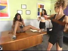 Andrea punished, fucked and fired by boss Janay and Asst. Karina