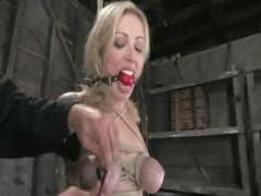 Big titted blond, takes heavy breast bondage and forced O's