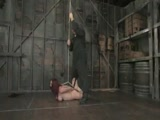 Shaved slut gets her 38DD breast bound and abused.  Hogtied.