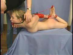 Leila gets bound, gagged, blinded, and penetrated.