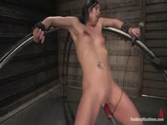 Julie Night is bound, flogged, machine ass fucked with HUGE dongs