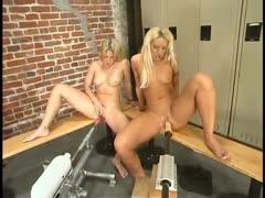 Sabrina and Fiona fuck each other in the gym with a machine!