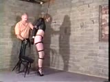 bound and hung  in black lingerie