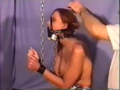 Chained leather gagged device bondage