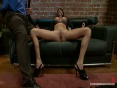 dominated in bondage with rough anal sex.