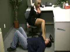 An office rough handjob with face stomping