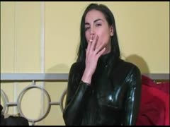 Latex fitted domme acute ball busting