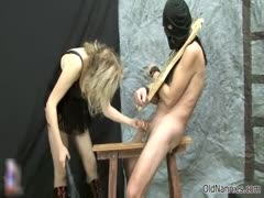 Bondageboy forced to his jerking from sexy nannie