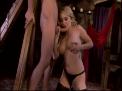 Blonde pornstar Aiden Starr fucking a slave