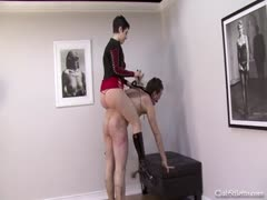 Countess Isabella pony rides her obedient slave