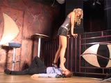 Amazon blonde tramp foot smothers her slave