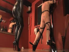 Blonde bitch loves beating slave's ass