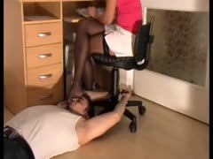 Blonde has feet smelled by slave