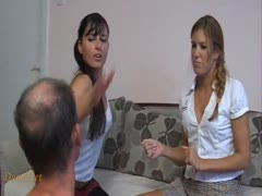 Two hot girls face slapping an old man for a contest
