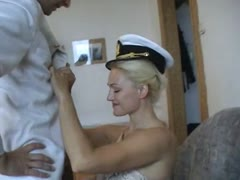 Sub sailor man submits his self for blonde mistress fetish desires