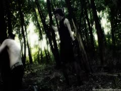 Kinky Mistress worshiped by her slave in the woods