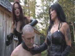 Two glamorous mistress in latex outfit merciless humiliation