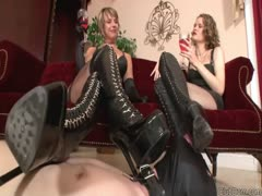 Submissive foot worshipping slave licking boots