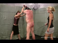 Helpless man tied up and double whipped