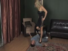 Fierce blonde wife overpowers her husband