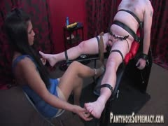 Cock kicking bratty princess torturing her tied bound slave
