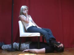 Slave hold's his breath for mistress stinky socks on his face