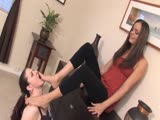 Gagging mistress feet to slave's mouth