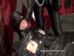 Helpless slave gets bagged and milked by a lady officer