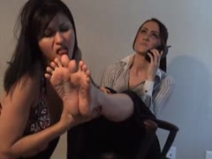 Lezdom bitch teaching how to be a perfect footslave