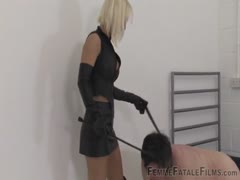 Whipped to submission for blonde femdom goddess