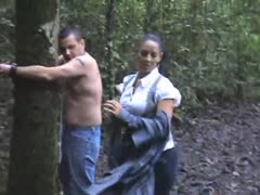 Extreme whipping  happening in the forest