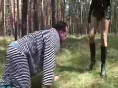 Daily exercise routine in the forest