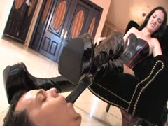 Her wedge boots pleased with slave