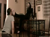 Long haired emo goddess foot pleased by slave