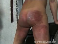 Slave's ass ruined in severe spanking