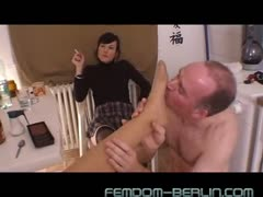 Old man foot slave worshiping two pairs of dominant feet