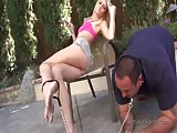 Pretty blonde domme with dirty feet