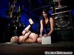 Blonde female sub tied and pussy fucked with strapon