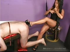 Asshole fucked with mistress heels and fake dick