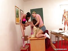Lesbian teens dominating their teacher