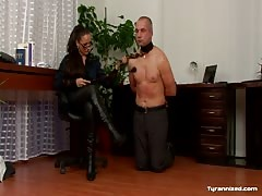 Superior woman disciplining her male worker
