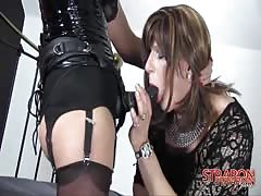 Mistress Jane pounded tranny's ass with strapon