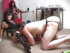 Mask slave pleased mistress strapon with blow job