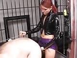 Red head unforgiving mistress pegged her fat slave
