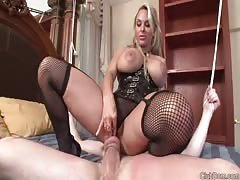 Pity chastised and bound slave teased by his hot femdom MILF