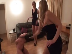 Pity slave whipped by two mistress